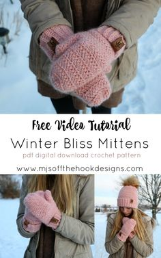 crochet stitches patterns Stay cozy and trendy in our Winter Bliss Mittens by Sentry Box Designs! Herringbone double crochet stitch is used to create an arrow like effect. Crochet Mitts, Crochet Mittens Pattern, Knit Mittens, Crochet Stitches, Crochet Hooks, Crochet Baby, Free Crochet, Knit Crochet, Fingerless Mittens