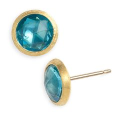 Women's Marco Bicego 'Jaipur' Stone Stud Earrings ($495) ❤ liked on Polyvore featuring jewelry, earrings, blue topaz, marco bicego, marco bicego jewelry, stone stud earrings, stone jewellery and marco bicego earrings