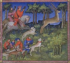 Picture from Livre de la Chasse showing relays of running hounds set on the path of the hart