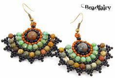 """""""Earth elemental fan earrings"""" by Beadfairy"""