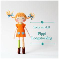 Pippi Longstocking 18cm Kunst Puppe. Pippi Langstrumpf, Astrid Lindgren. OOAK Puppe. Einer der eine Art Puppe. Klassischen Roman.