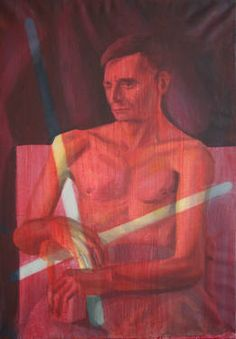 The LIGHT MAN,  the portrait of a thin man is fairly visible under the red glazing. This process enabled me to leave two stripes unglazed, as if the man was actually having two sticks in his hands. Two neons ? Two stripes of light ? A sign of interdiction ? For me this is a meta-painting. For sale on @saatchiart  www.maia-fine-art.com Sticks, Oil On Canvas, Saatchi Art, Original Paintings, Neon, Hands, Fine Art, Portrait, Abstract