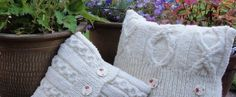 Natural cream arran wool cushions in two perfect sizes