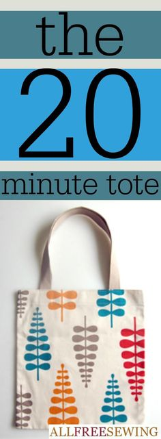 Twenty Minute Tote - Learn how to make a bag with this tote bag DIY that is insanely popular over at AllFreeSewing.com!!