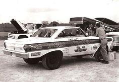 Ford Falcon drag racer. Austin Texas in April 1967.