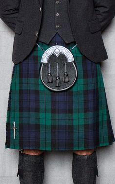 We d recommend teaming Black Watch tartan with a grey tweed jacket and  waistcoat and 54592c524497
