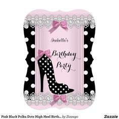 Pink Black Polka Dots High Heel Birthday Party 5x7 Paper Invitation Card