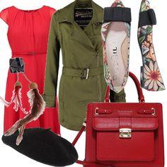 Di ispirazione fiabesca questo outfit che punta sul rosso passione dell'abito leggero e il trench military color khaki. Gli accessori richiamano la natura amata dall'eroina, le ballerine con margherite in tessuto di Paco Gil e l'originale spilla di Marni in fibre tessili e piume.
