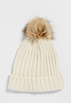 dfcde251ef2 ribbed knit hat with faux fur pompom in off white