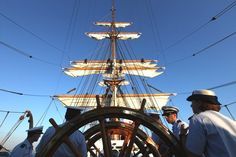 U.S. Coast Guard crews aboard the tall ship U.S.C.G. Eagle get ready to set the sails Friday morning as they join the International fleet of tall ships and head to Norfolk for OpSail 2012. (Sangjib Min / June 8, 2012)