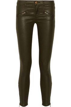 Current/Elliott The Soho Zip Stiletto coated stretch-denim jeans