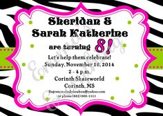 Zebra Girl Birthday Party Invitations