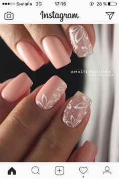 Pink nails with Christmas stars - - Informations About Unghie rosa Bride Nails, Nails For Brides, Wedding Nails Design, Pink Wedding Nails, White Nail Art, White Art, Pink Nail Designs, Square Nail Designs, Trendy Nail Art