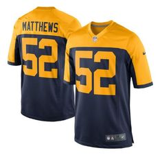 Men's Green Bay Packers #52 Clay Matthews Navy Blue Stitched Nike NFL New Alternate Elite Jersey