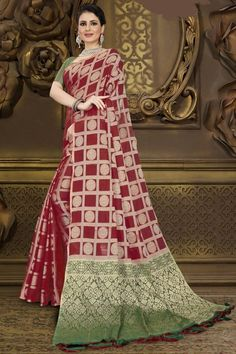 Maroon chanderi and silk saree with green brocade blouse, embellished with woven zari. Saree with Square Neck, Half Sleeve. It comes with unstitch blouse, it can be stitched 32 to 44 sizes. #maroon #chanderi silk #saree #blouse #Andaazfashion #UK Saree Wedding, Wedding Wear, Wedding Saree Collection, Brocade Blouses, Casual Saree, Traditional Sarees, Maroon Color, Half Sleeves, Silk Sarees