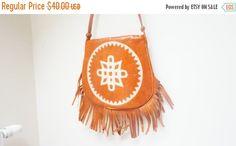 CLEARANCE Ocher tribal Handbag real leather by LivePastVintage