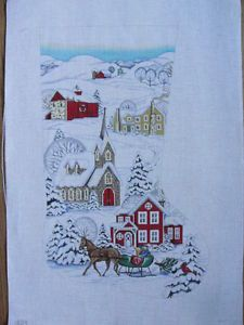 Winter Village Scene Hand Painted Needlepoint Canvas Christmas Stocking AP1804 | eBay $140 Needlepoint Stockings, Needlepoint Canvases, Winter Painting, Christmas Cross, Winter Scenes, Christmas Stockings, Needlework, Projects To Try, Cross Stitch