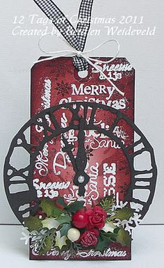Deep Cranberry embossed with white embossing powder is rich and the clock face is so Tim Holtz-like!