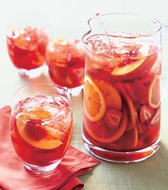 Strawberry Sangria - made with white wine and some other sparkling beverage, and of course, fruits