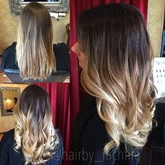 Pretty before and after from blonde to a high contrast ombre with a darker base and lighter blonde ends! Color created using redken chromatics and balayge highlight techniques with olaplex. Hair by Rachel fife at Sara Fraraccio salon