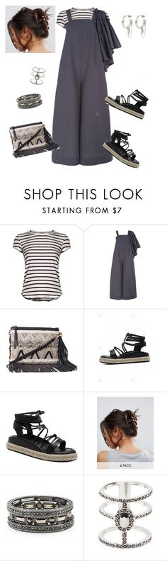 """""""grey jumpsuit"""" by marlenewelke ❤ liked on Polyvore featuring Frame, MSGM, Rebecca Minkoff, ASOS, Sole Society and Eddie Borgo"""