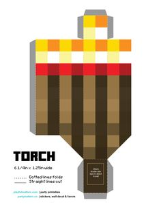 DIY #Minecraft #torch If you are having a minecraft party, torches are a must. They can be attached to walls or be used as party favour filled with candy. Download the printables  pdfs at www.playfulmatters.com