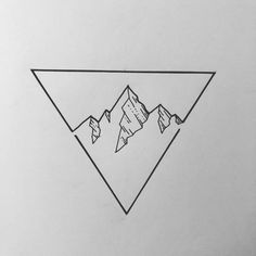 Idea of a mountain range inside a triangle with a line division at the bottom Source by buhsimorgenstei illustration Dreieckiges Tattoos, Small Tattoos, Tattoos For Guys, Easy Drawings, Tattoo Drawings, Triangle Drawing, Triangle Art, Triangle Tattoos, Triangle Design