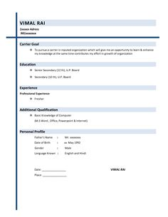 [ Resume Examples Basic Outline Sample Simple Job With ] - Best Free Home Design Idea & Inspiration Simple Resume Sample, Basic Resume Examples, Simple Resume Format, Job Resume Format, Resume Template Examples, Resume Ideas, Resume Cv, Resume Tips, Resume Writing