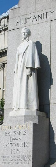 This is the humanitarian, Edith Cavell, this statue is at the war memorial site in Britan.
