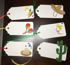 Mexican Food Tags |Taco Party Favor Tags |Mexico Gift Tags |Sombrero Chili Pepper Cactus Maracas Taco Margarita, Cinco De Mayo Party-6/order Favor Tags, Gift Tags, Green Cactus, Burlap Fabric, Taco, Colour List, Thank You Tags, Food Labels, Ribbon Colors