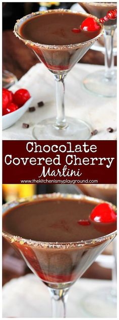 Chocolate Covered Cherry Martini ~ Enjoy the classic combination of cherries and. - Chocolate Covered Cherry Martini ~ Enjoy the classic combination of cherries and chocolate in a fun - Winter Cocktails, Holiday Drinks, Fun Cocktails, Party Drinks, Cherry Cocktails, Christmas Drinks, Cocktail Parties, Dessert Drinks, Cocktail Drinks