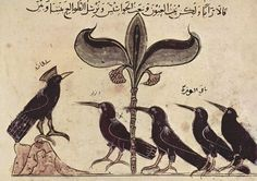 A page from the Arabic version of Kalila wa dimna, dated 1210 CE, illustrating the King of the Crows conferring with his political advisors.