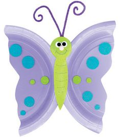 Butterfly made with plate, felt or colored construction paper, fuzzy stick, wiggle eyes