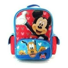 "Disney - Mickey Mouse Large 16"" Backpack - Hide & Seek with Pluto by KBNL. $24.75. This is a full size backpack measures 16""H x 12""W x 5""D, has lots of space for all your little one's school or travel needs. Large front pocket(s) and side pocket(s) for easy access and organization. Padded back panel and straps for comfort."