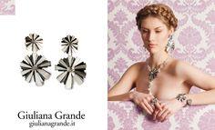 Giuliana Grande  www.giulianagrande.it    parure in argento bianco satinato e brunito lucido con cristallo di rocca incastonato