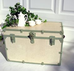 Vintage Steamer Trunk Mint Green White Wood Restored 1930s Wood Steamer Trunk Vintage luggage Shabby chic Painted white crackle finish Mint green metal trim Original leather handles Vintage travel trunk Vintage luggage Cottage chic table Storage Soft mint green Cottage white crackle paint Shabby chic cottage style Beach bungalow Restored Refinished luggage VG vintage condition Clean Solid wood steamer trunk Original black leather handles Green painted wood steamer trunk with off white…