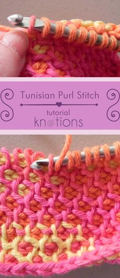 [tutorial] Tunisian Purl Stitch (tps) - knotions - - Free picture tutorial on how to work this pretty, versatile stitch. We also have a free pattern so you can try it out right away! Crochet Geek, Crochet Crafts, Crochet Yarn, Crochet Projects, Crotchet, Doilies Crochet, Lace Knitting, Yarn Crafts, Easy Crochet