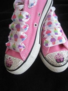 Cupcake converse bling birthday girl pink by glamourtoes on Etsy, $95.00