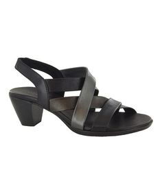 Look at this #zulilyfind! Black Stella Leather Sandal by Munro Shoes #zulilyfinds