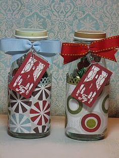 Gift idea. Recycled Starbucks bottles filled with Hershey Kisses.