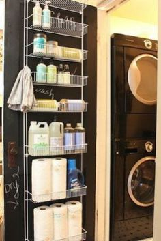 Love the idea of using an over the door rack for laundry cleaning and household storage Organisation Hacks, Organizing Tips, Organize Cleaning Supplies, Laundry Room Organization, Laundry Storage, Bathroom Storage, Laundry Rooms, Laundry Area, Storage Organization