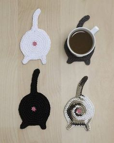 Cat Butt Coasters; I need someone to make these for me!!! Got lots of cat lovers in my family!!!!!