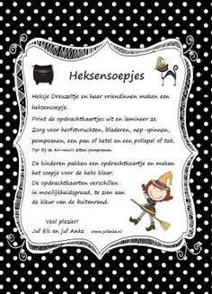Heksensoepjes. Brouw mee met heks Dreuzeltje. Goed tellen hoor! Jufanke.nl Halloween Kids, Halloween Themes, Magic Party, Witchcraft, Fairy Tales, Monsters, School, Frame, Imagination