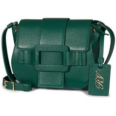 Roger Vivier - Pilgrim de Jour Crossbody Bag ($1,675) ❤ liked on Polyvore featuring bags, handbags, shoulder bags, green, genuine leather handbags, green purse, leather cross body purse, green leather handbag and leather shoulder handbags
