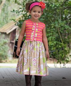 Look at this #zulilyfind! Melon Stripe Ella A-Line Dress - Infant, Toddler & Girls by Gus & Lola #zulilyfinds