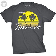 Mens Greetings From Nebraska Funny Sarcastic Beach State Midwest Tee For Guys (Grey) M - Birthday shirts (*Amazon Partner-Link)