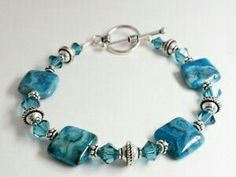 Idea piece but a wonderful store website. Peruse it to learn the names and looks of different types of beads and stones. Blue Crazy Lace and Crystal Bracelet Handmade Beaded Jewelry, Wire Jewelry, Jewelry Crafts, Jewelry Bracelets, Jewelery, Ankle Bracelets, Jewelry Ideas, Bracelet Making, Jewelry Making