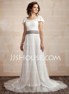 A-Line/Princess Scoop Neck Chapel Train Chiffon Charmeuse Wedding Dresses With Ruffle Sashes (002012665) - JJsHouse