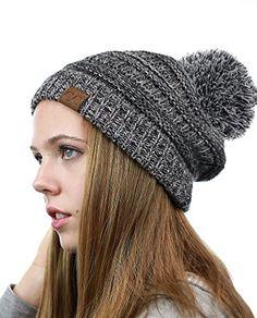 NYFASHION101 Unisex Multicolor Warm Cable Knit Slouch Pom Pom Beanie Cap bf4213fc3e5a