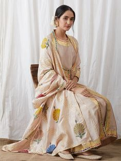 Beige Silk Gota Kurta with Crepe Churidar and Hand Block Printed Dupatta - Set of 3 Simple Pakistani Dresses, Pakistani Outfits, Indian Dresses, Indian Outfits, Indian Attire, Indian Ethnic Wear, India Fashion, Ethnic Fashion, Indian Designer Suits